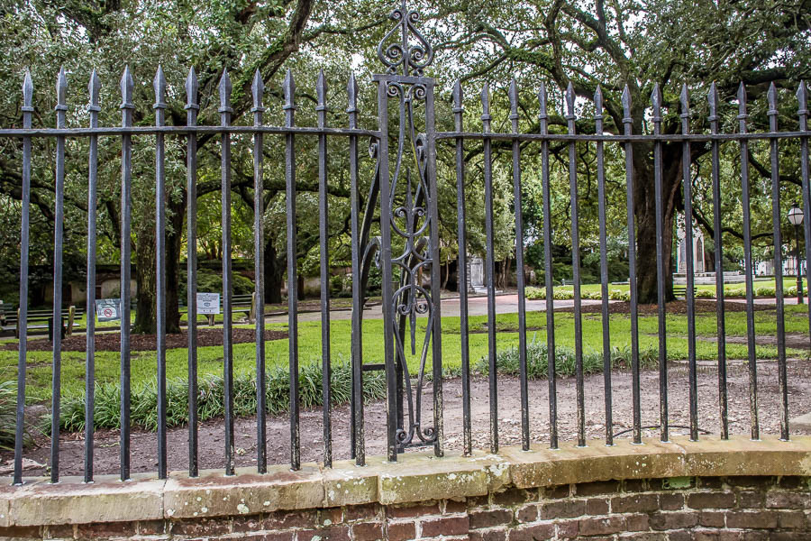 wrought iron fencing surrounds washington square charleston