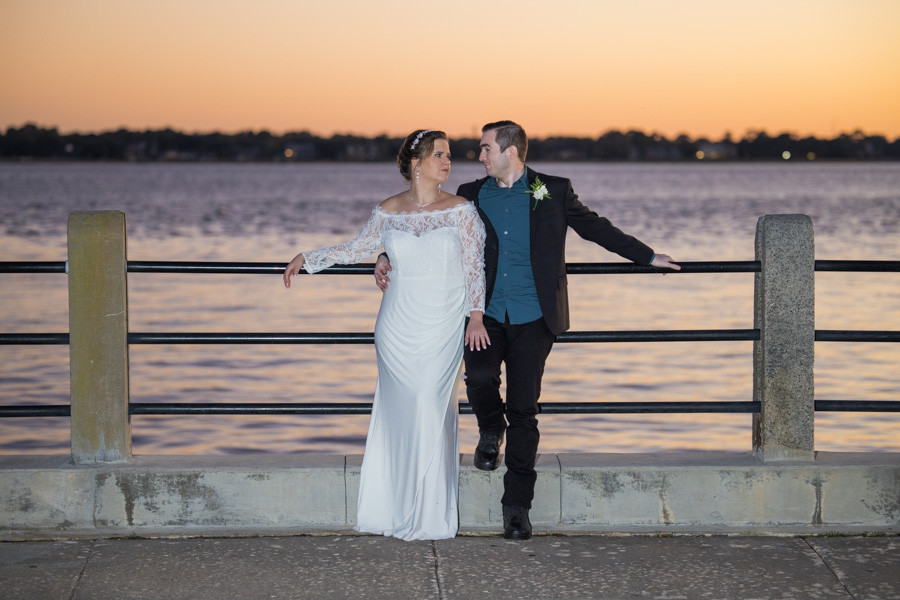 sunset elopement at charleston harbor