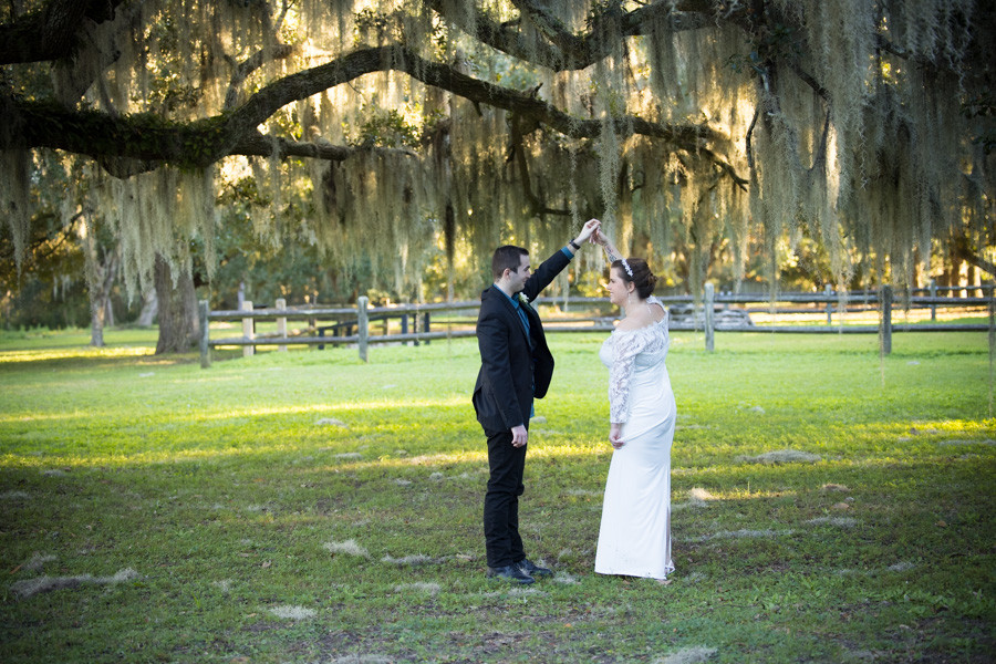 dancing under the large mossy oaks elopement