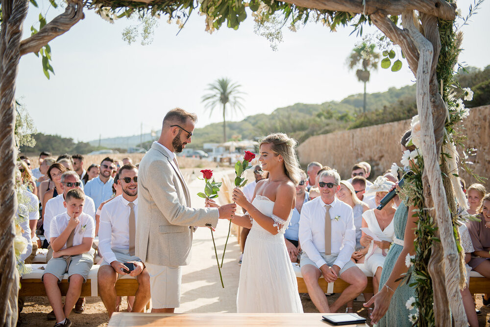 rose ceremony as part of a wedding elopement to symbolize love