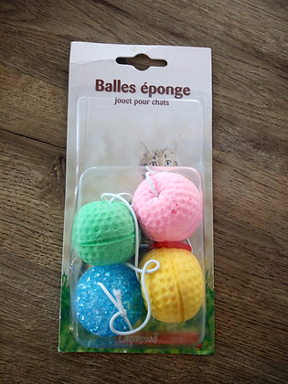 4 Balle Eponge Multicolore pour Chat