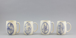 4 cups with inlay drawings.
