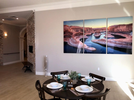 Oversized Glossy Metal Triptych Landscape