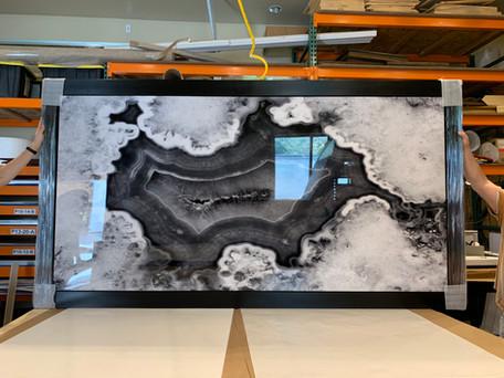 Oversized Glossy Metal Geode Print