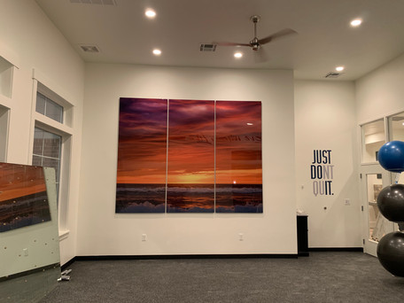 """Giant 96"""" Tall Metal Print Triptych in Clubhouse Gym"""