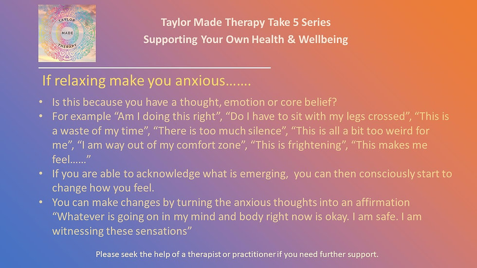 Taylor Made Therapy Take 5 Series Supporting your own Health and Wellbein