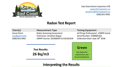 Radon Test Report