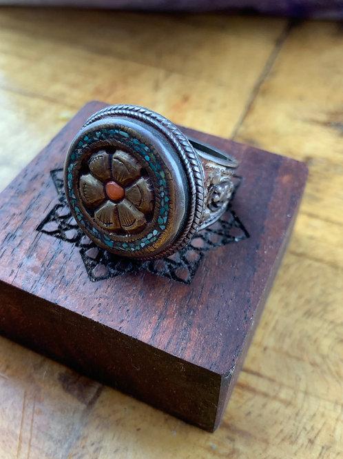 Carnelian and Tibetan Turquoise Ring