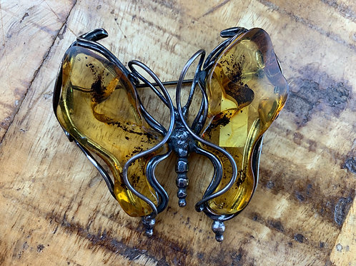 Baltic Amber and Silver Butterfly Pin