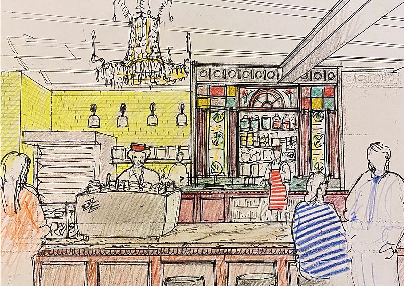 Drawing of new Beloved Cafe