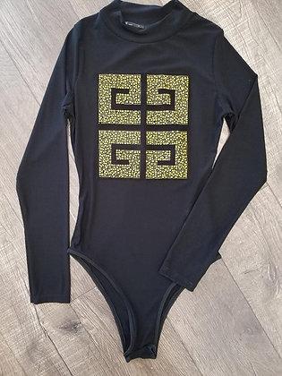 Black & Yellow See-through Bodysuit #TWG5283