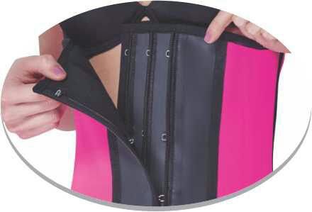NAHEMA Sport latex long torso 3 lines Hooks and zipper