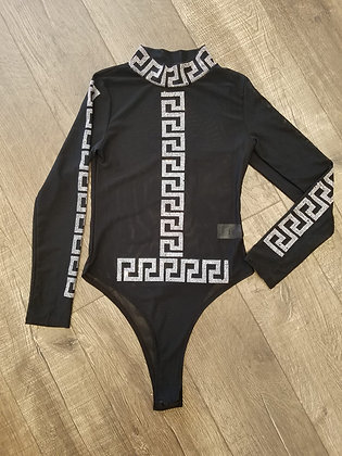 Black & Silver See-through Bodysuit #TWG5281