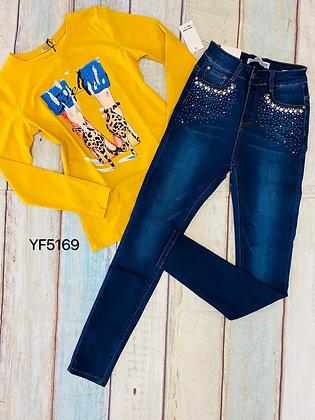 YF5169 jeans de brillitos