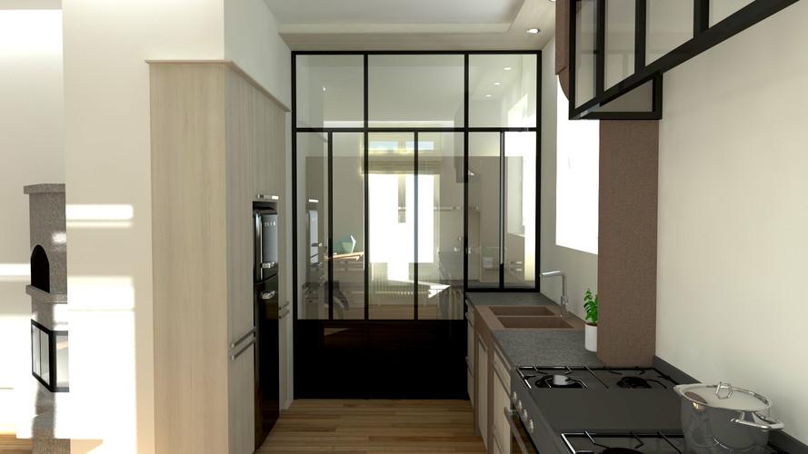Rendu 3D photo-réaliste salon séjour cuisine