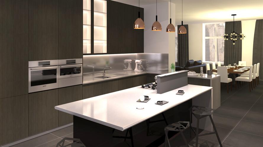 Rendu 3D cuisine contemporaine