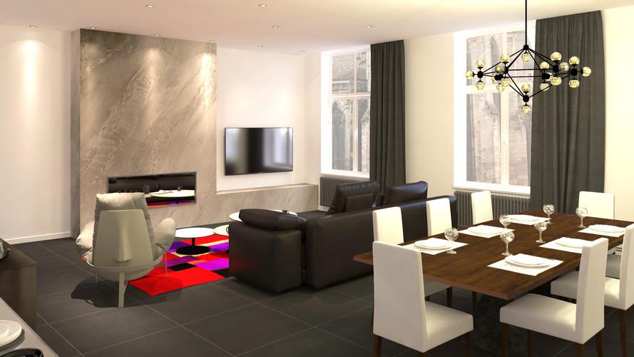 Rendu 3D salon séjour contemporain