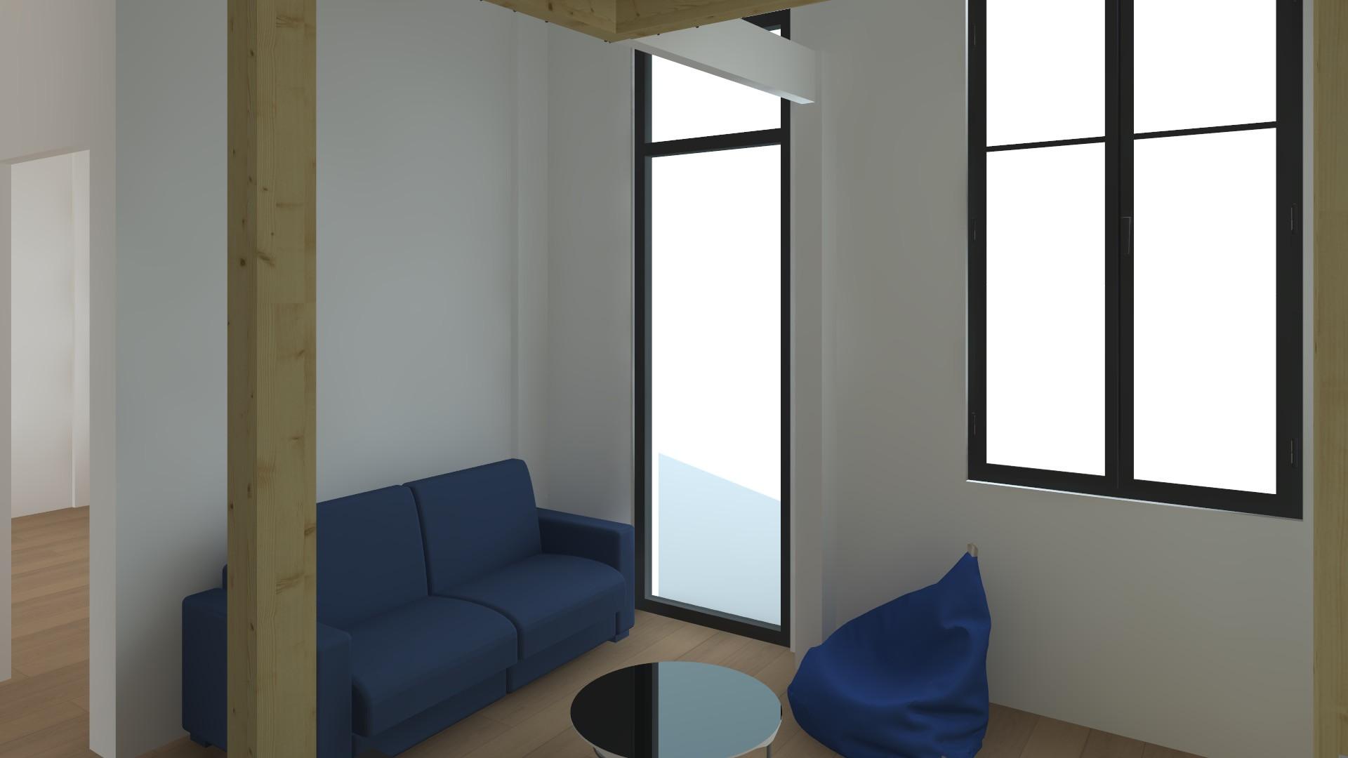 Studio à Parie, vue vers la fenêtre