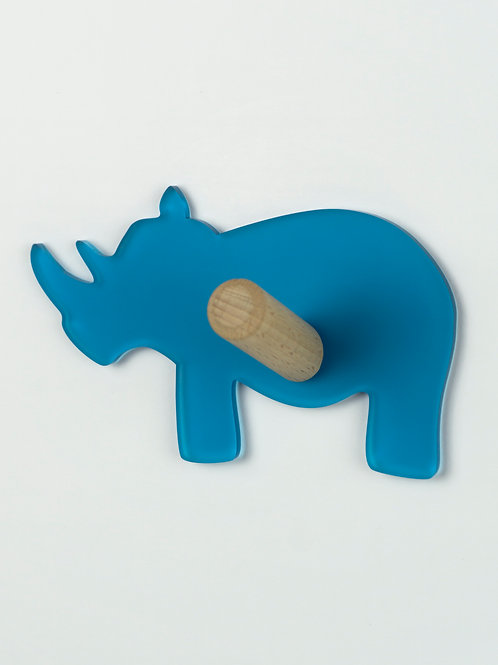 Patère munu Nancy bois et plexiglas bleu rhinocéros