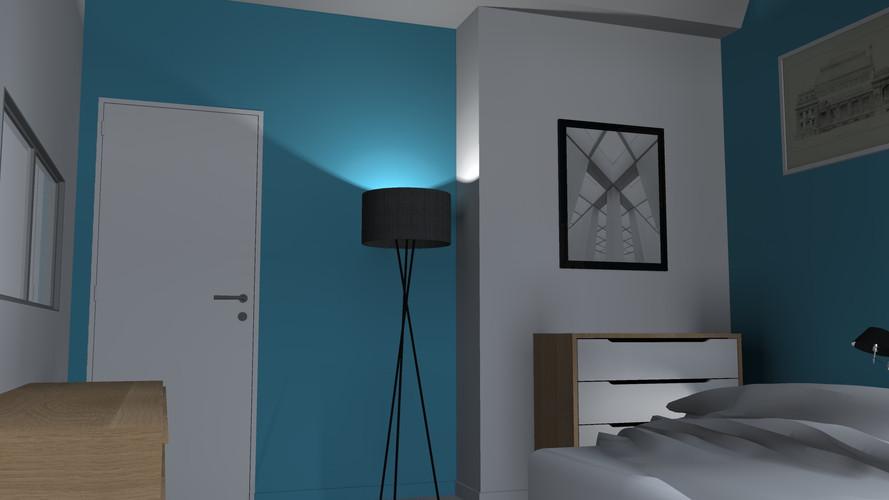 Chambre parentale bleue