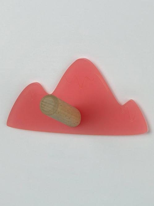 Patère munu Nancy bois et plexiglas rose montagne