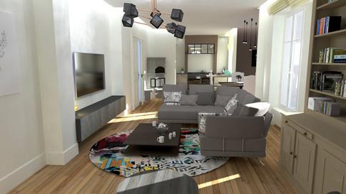 Rendu 3D intérieur salon design contemporain