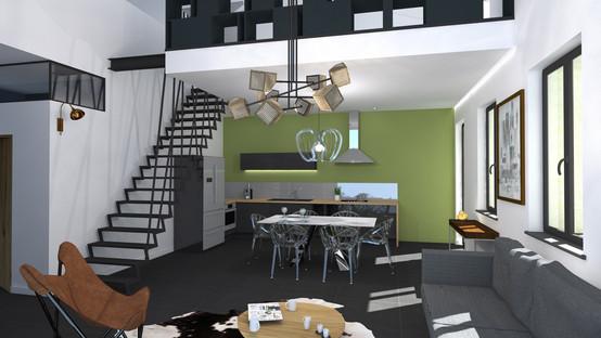 Rendu 3D intérieur salon cuisine design contemporain