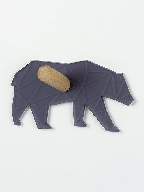 Patère munu Nancy bois et plexiglas gris ours géométrique