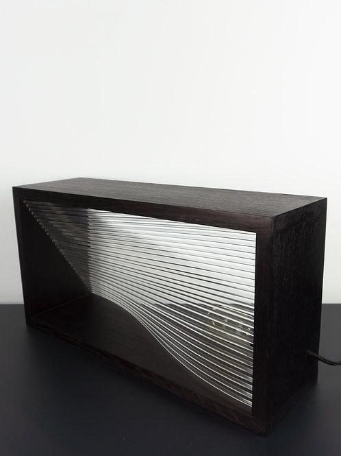 Lampe munu Nancy Plex chêne noir vue face éteinte