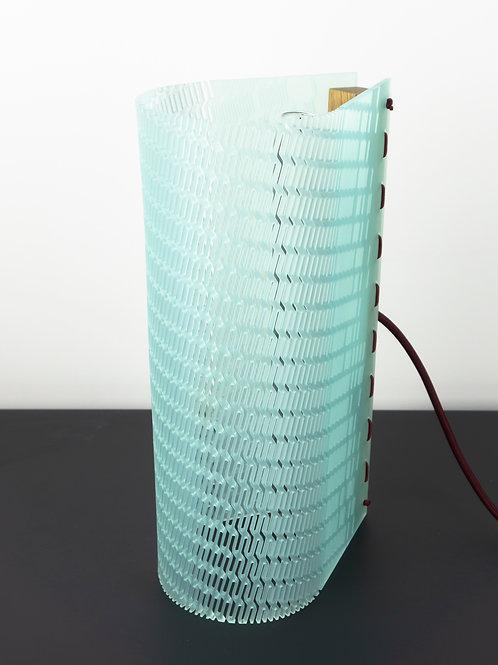 Lampe Gédéon munu Nancy en plexigas vert d'eau satin vue face éteint