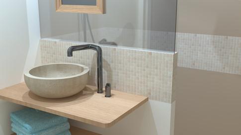 Rendu 3D intérieur salle de bain design contemporain