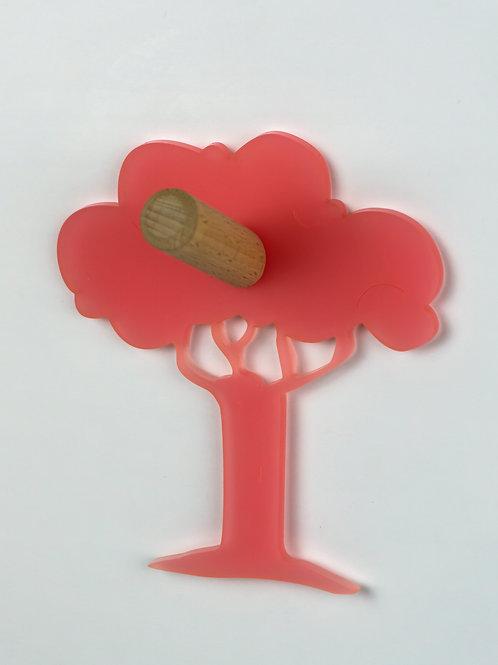 Patère munu Nancy bois et plexiglas rose arbre
