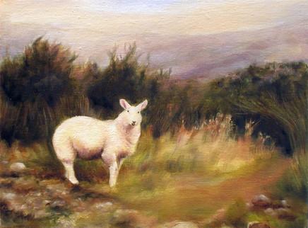 L Higland Landscape-Animal Art, Painting