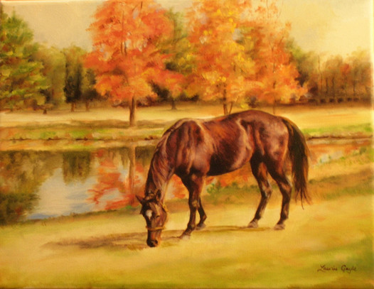 Fall Scene-Horse Art, Painting.JPG