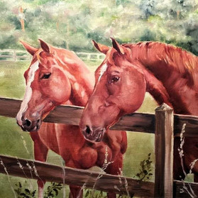 Tater and Abby-Horse Art, Painting
