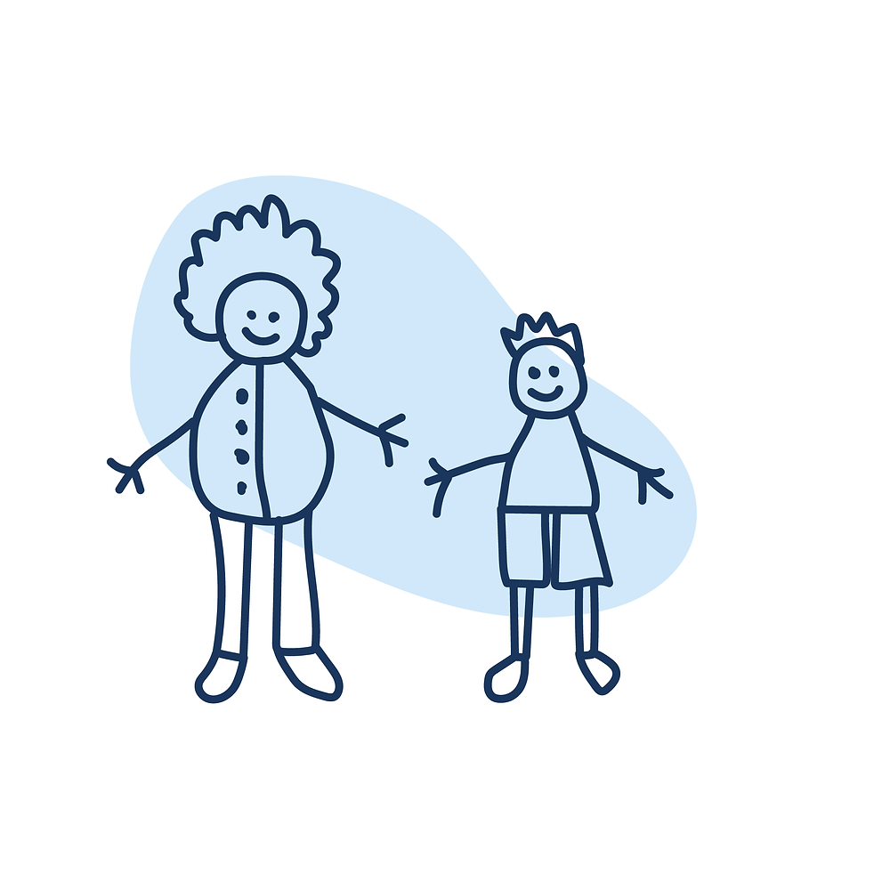 Hand drawn woman and boy with blue blob behind