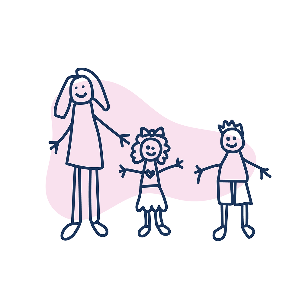 Hand drawn image of woman with two foster children, a boy and a girl