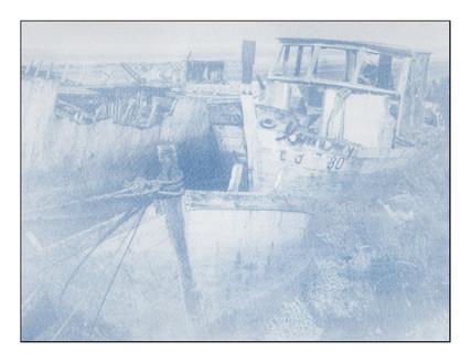 Epaves, cyanotype développé au pinceau