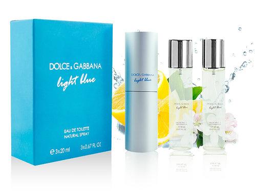 DOLCE & GABBANA LIGHT BLUE, Edt, 3x20 ml (жен)