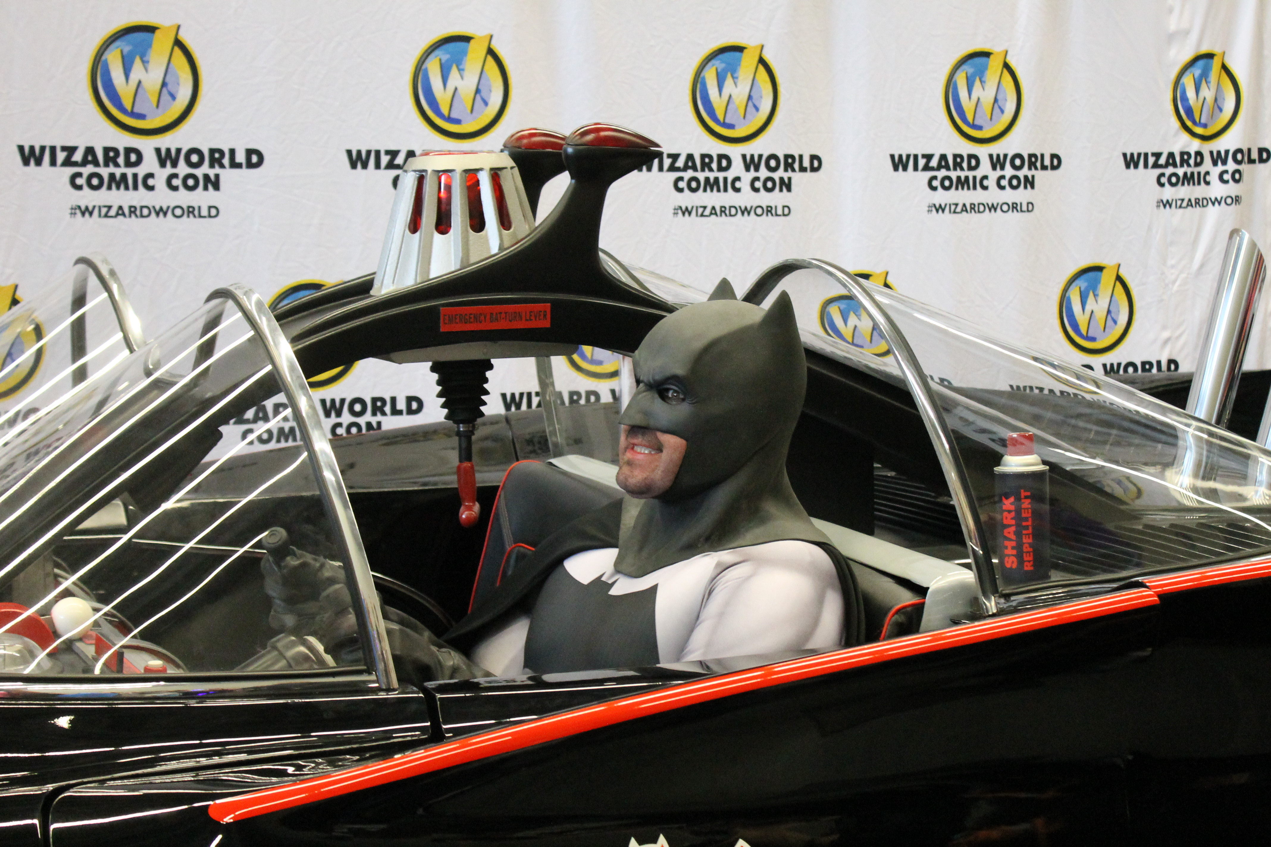 Happy Batman in the Batmobile