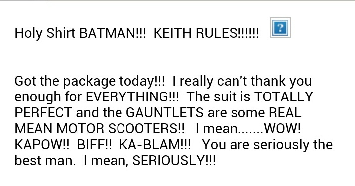 Batman suit testimonial