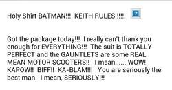 Batman suit testimonial