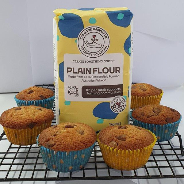 Chocolate Chip Muffins with Good Harvest Co. Plain Flour