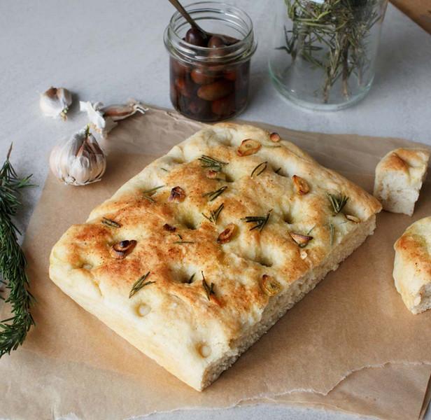 Garlic and Rosemary Focaccia with Good Harvest Co. Plain Flour