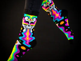 PSYCHEDELIC SOCKS WITH GUMBALL POODLE!