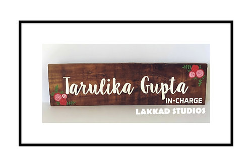 Wooden Wall Art Name Plate for Office