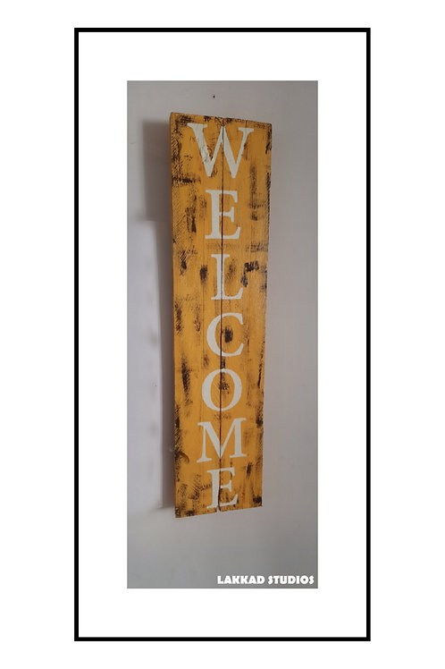 "Wooden Wall Art Rustic quotation Board ""WELCOME"""""