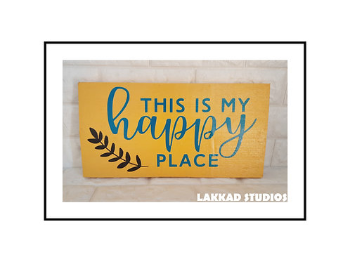 "Wooden Wall Art Rustic quotation Board ""My Happy Place"""""