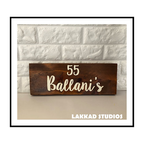 Wooden Wall Art Name Plate wooden finish