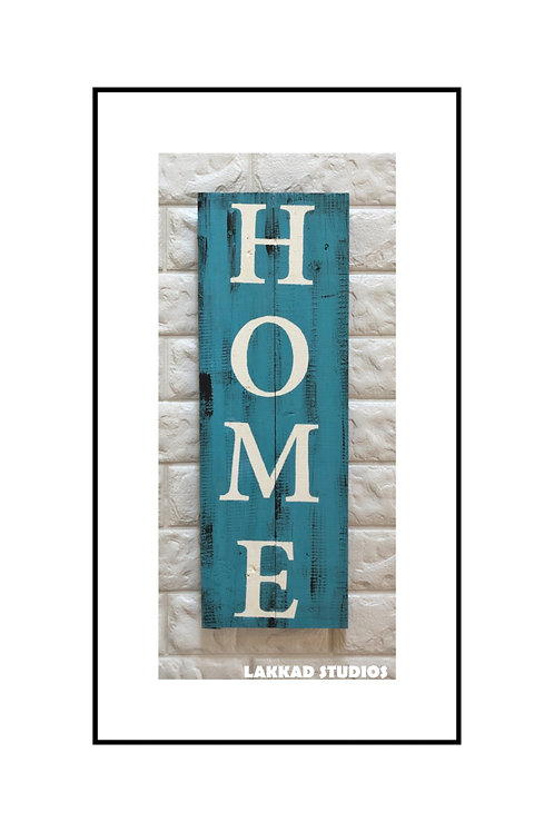 "Wooden Wall Art Rustic quotation Board ""HOME"""